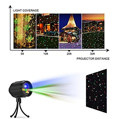 Christmas Projector Lights Laser Lights Laser Show Star Light Shower RF Wireless Remote RED & GREEN 8 Patterns BLUE LED Waterproof for Xmas, Holiday, Parties and Garden Decoration