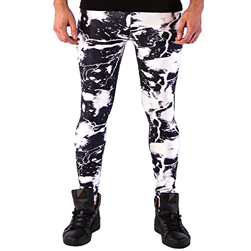 Kapow Meggings Men's Printed Colorful Leggings - Originals Range (Milky Way, Large) -