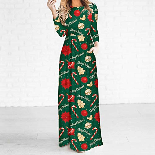 Moko-PP Women 3D Christmas Tree Long Sleeve Casual Stretchy Bohe Bottom Dress