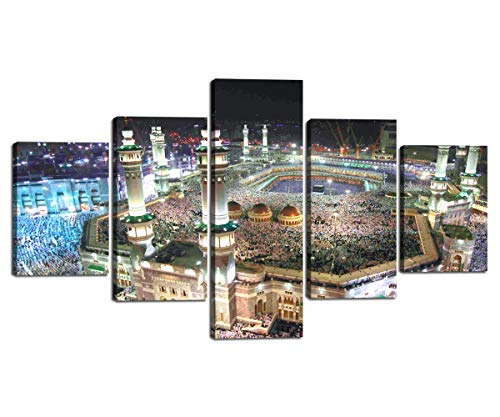 - Home Decoration Prints on Canvas Islamic Painting for Bedroom Living Room Decor 5 Panel Framed Wall Art Hajj Pilgrimage to Kabah Jerusalem Modern Mosque Muslim Artwork Wall Pictures (70''W x 40''H)