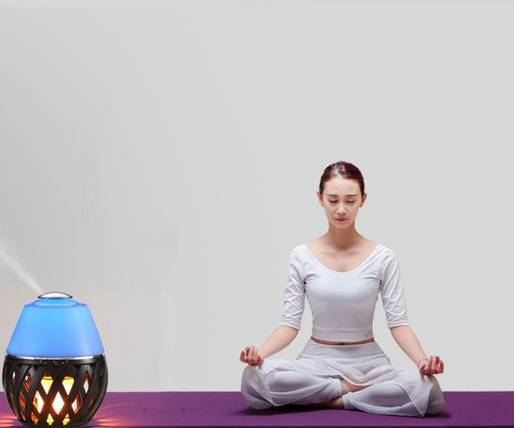 Sumaote LED Flame Lamp Aroma Diffuser, Torch Atmosphere Light With LED Flicker Yellow Dancing Light & Aroma Diffuser 150ml Humidifier Oil Diffuser with Timing Function for Spa Bedroom Babyroom by Sumaote (Image #5)