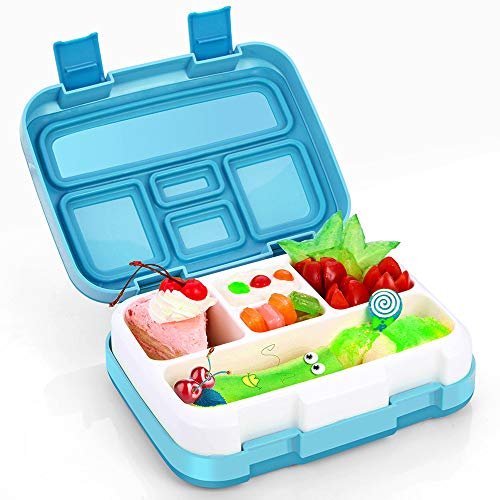 Kids Lunch Box, Hometall Bento Box for Kids with Spoon, BPA-Free, Leakproof 5 Compartments Food Container Great for School, Picnics, Travel and More(BLue)