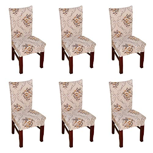 Argstar 6 Pack Chair Slipcovers for Dining Room Spandex Protector Covers for Kitchen Classical Patterned X_08