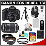 Canon EOS Rebel T3i Digital SLR Camera Body and EF-S 18-55mm IS II Lens with 55-250mm IS Lens + 32GB Card + .45x Wide Angle and 2x Telephoto Lenses + Tripod + Case + Battery + Remote + (2) Filters + Accessory Kit, Best Gadgets