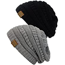 C.C Trendy Warm Chunky Soft Stretch Cable Knit Beanie Skully, 2 Pack