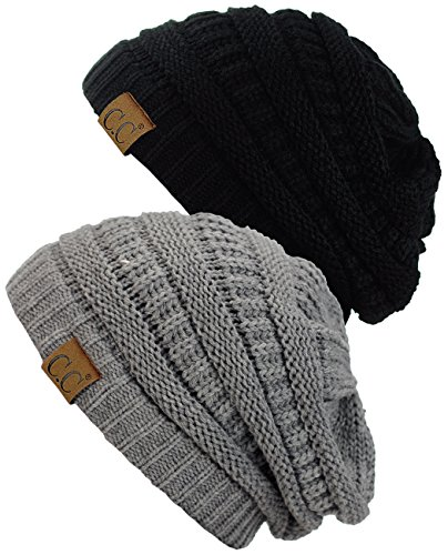 Stretch Beanie (C.C Trendy Warm Chunky Soft Stretch Cable Knit Beanie Skully, 2 Pack Black/Light Melange Gray)