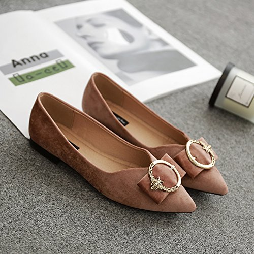 Xue Qiqi Court Schuhe Flache Flache Schnalle Schnalle Schnalle des flachen Schuhes der flachen Schuhe mit Schuhen der flachen Schuhe des Wilden Schuhes der Frau niedrigen 35 Rosa 7250b7