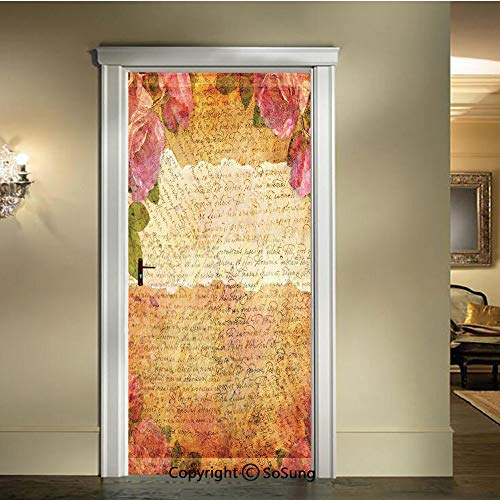 - baihemiya Door Wallpaper Murals Wall Stickers,Floral-Nostalgic-Collage-of-Old-Latters-and-Roses-Artsy-Retro-Romantic-Artwork-Print,W30.3xL78.7inch,for Home Room DecorCream-Pink