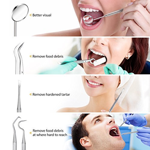 Dental Tools, ElleSye 8 PACK Dental Pick Oral Care Kit, Stainless Steel Dental Hygiene Kit Set, Tooth Scraper Plaque Tartar Dental Scaler Tweezers Mouth Mirror for Personal & Pet Oral Care Use by ELLESYE (Image #3)