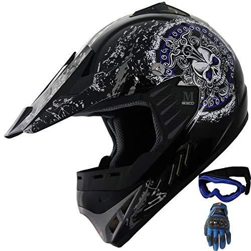 Kid Youth ATV Motocross MX Helmet Dirt Bike Off Road Mountain Bike Helmet Combo With Goggles and Gloves (Y47 Blue/Black, YM) (Dirt Bike Helmets Youth)