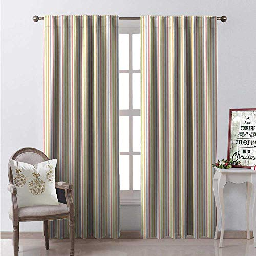 Hengshu Pinstripe Room Darkening Wide Curtains Vertically Aligned Crayon Stroked Style Pastel Colored Crooked Parallel Lines Waterproof Window Curtain W96 x L96 Multicolor -