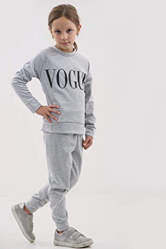 Childrens Girls Vogue Print Top Bottoms Tracksuit Lounge Wear 2 Pcs Co-Ord Set