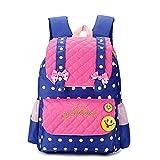 EssVita Kid Child Princess Style School Bags Backpack for Primary Girls Students (Style B Pink+Dark Blue)