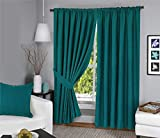 Menaal Pair of 100% Cotton Chevron Texture Curtains Fully Lined with Solar Thermal Lining - 66x72 - Teal by Nimsay Home