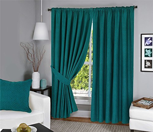 Menaal Pair of 100% Cotton Chevron Texture Curtains Fully Lined with Solar Thermal Lining - 66x72 - Teal by Nimsay Home by Nimsay Home