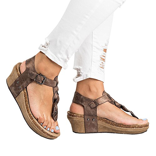 Ofenbuy Womens Wedge Sandals Ankle Buckle T Strap Platform Casual Summer Heeled Shoes