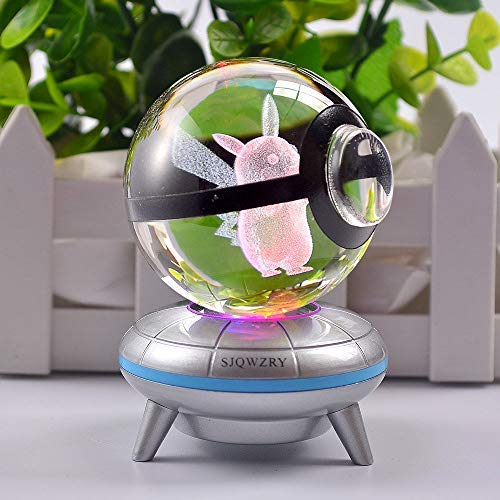 3D Crystal Ball LED Night Light Base Changes Color Toy Night Light Child Christmas Present ()