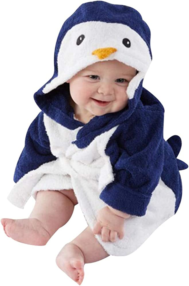 PYL Unisex Baby Bathrobe Infant Newboron Animal Penguin Hooded Dressing Gown Bath Towel Pajamas Clothes