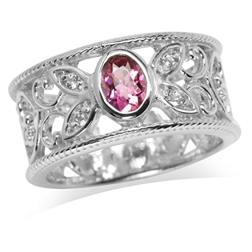 Natural Tourmaline & White Topaz Gold Plated 925 Sterling Silver Filigree Band Ring Size 6