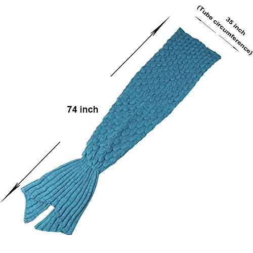 Senmar Mermaid Tail Blanket knit crochet and Mermaid Blanket for Adult, Summer Super Soft Sleeping Bags(71″x 35″) (Lake Blue)