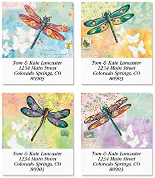 Aqua Dragonfly labels Custom return address labels insect dragonfly wildlife matte or gloss finish personalised