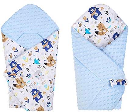 BlueberryShop polar Minky manta reversible para envolver al bebé   Saco de dormir para bebés recién nacidos   Para bebés de 0-3 meses   Regalo perfecto para Baby Shower   78 x 80 cm   Azul Blanco