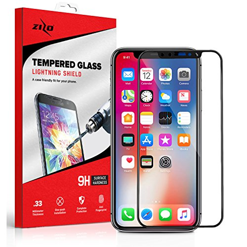 (Zizo Full Edge-to-Edge Lighting Shield iPhone X Screen Protector with Anti-Scratch Protection, 9H Hardness and 0.33mm Thickness (Black) )