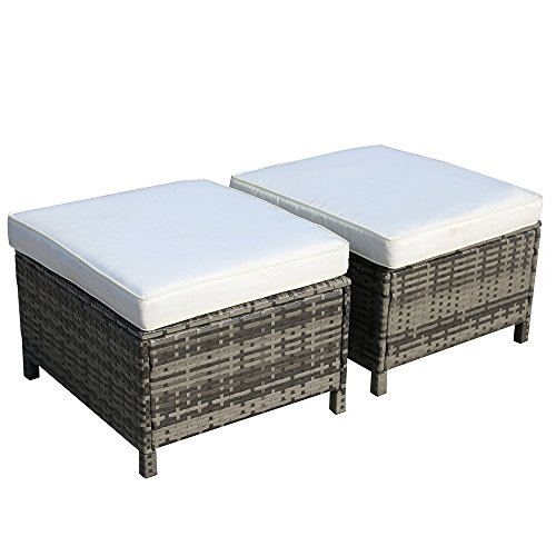 PATIOROMA Patio Furniture Sofa All-Weather Grey PE Wicker Ottoman (2-Piece) with White Cushion| Patio, Backyard, Pool,Indoor|Steel Frame