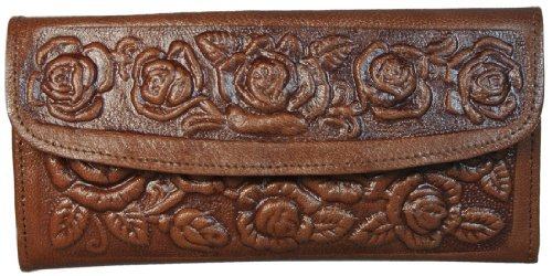 Womens Western Wallet Tooled Leather Clutch with Roses has - Leather Tooled Purse Brown Western