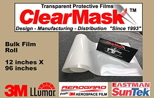 ClearMask 12' X 96' Fabricated Paint Protection Film Roll (8 Mil Clear Urethane Film from 3M, Eastman Llumar Suntek or Equal) ClearMask Protective Films