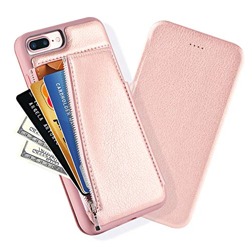 (iPhone 8 Plus Wallet Case, iPhone 7 Plus Flip Case with Back of Phone Wallet, LAMEEKU Shockproof Leather Case with Zipper Money Pouch Magnetic Closure for iPhone 7 Plus/iPhone 8 Plus, 5.5