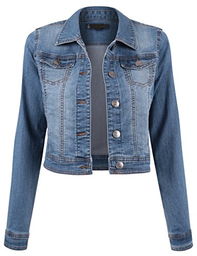 Fitted Denim Jacket - BEKDO Womens Button Up Long Sleeve Slim Fit Cropped Denim Jacket -S-Medium_Wash