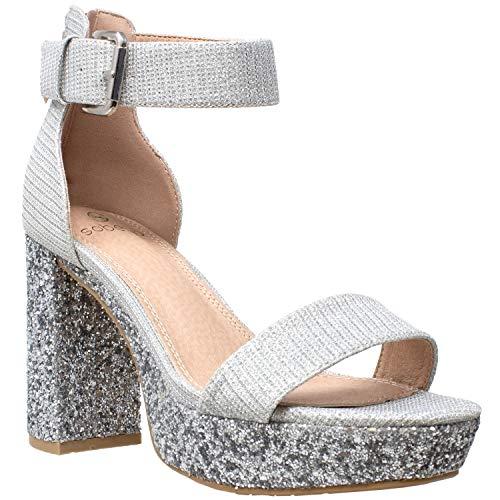 Women's High Platform Sandals Ankle Strap Chunky Block Heels Open Toe Shoes Silver SZ 9