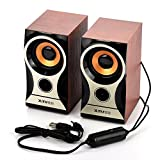 fosa Computer Speakers, Portable Wooden Stereo Hi-Fi Computer Speaker with 3.5mm Audio Interface, Digital USB Powered PC Speaker for iPhone/iPad/ MP3 /MP4 /Laptop/PC Computer Desktop