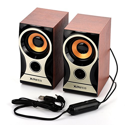 Computer Speakers, fosa Portable Wooden Stereo Hi-Fi Computer Speaker with 3.5mm Audio Interface, Digital USB Powered PC Speaker for iPhone/iPad/ MP3 /MP4 /Laptop/PC Computer Desktop
