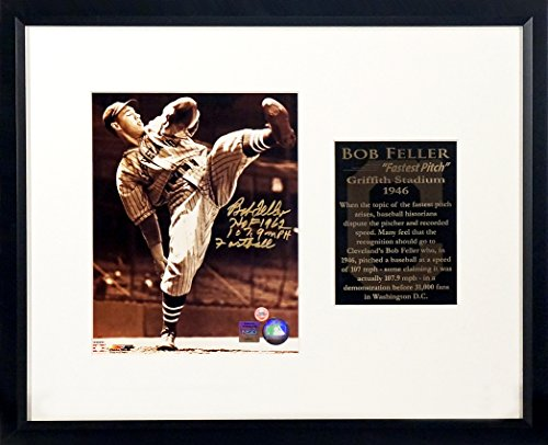 "Cleveland Indians Bob Feller Autographed 8x10 ""Fastest Pitch"" Display w/ Dual Inscriptions Framed (COA)"