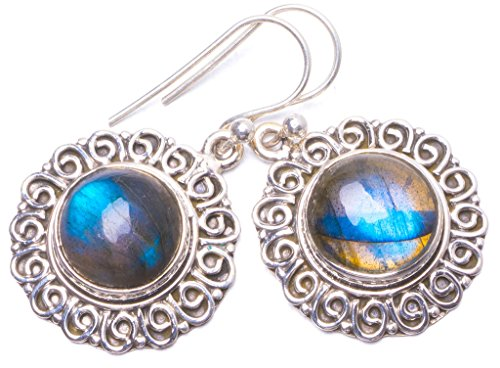 (Natural Labradorite Handmade Unique 925 Sterling Silver Earrings 1.25