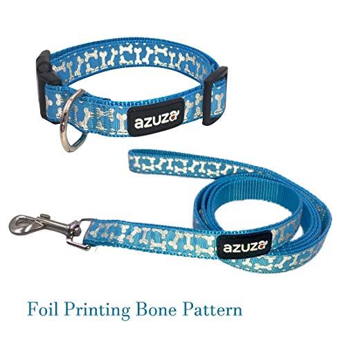 (azuza Dog Collar and Leash Set, Adjustable Nylon Collar with Matching Leash,Foil Dog Bones Printing, Blue, Large)