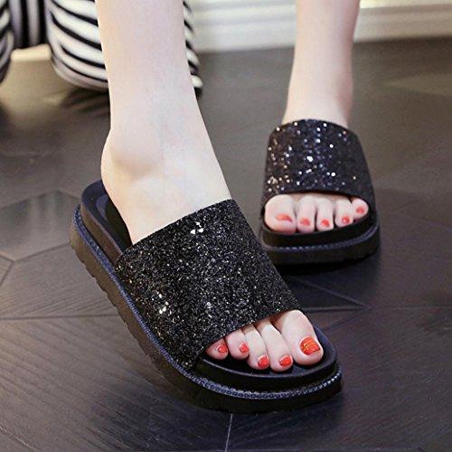 bescita Outdoor Indoor Damen Sommer Sandalen Schuhe Peep-Toe Halbschuhe Römischen Sandalen Damen Flip Flops (39, Schwarz)