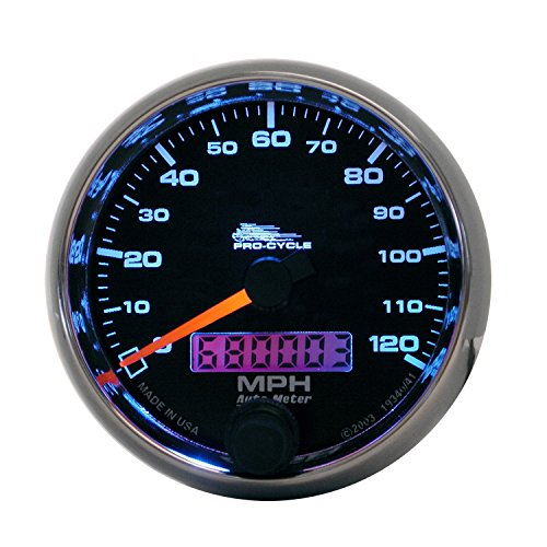 AutoMeter 19340 Pro-Cycle Electric Speedometer 2-5/8 in. Black Dial Face Fluorescent Red Pointer Blue LED Lighting Air Core 0-120 MPH Pro-Cycle Electric - Speedometer Gps Mph 120