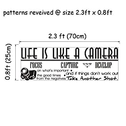 ElecMotive Life Is Like a Camera Focus Capture Develop and Take Another Shot Vinyl Wall Decals Quotes Sayings Words Art Decor Lettering Vinyl Wall Art Inspirational Uplifting (2.3\' x 1.2\')
