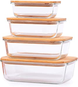 TIBLEN [4-Pack] Glass Food Storage Containers with Lids (Bamboo), Meal Prep Ecofriendly Containers with Lids for Kitchen, Home Use, Safe for Microwave,Freezer, BPA Free (370mL, 640mL, 1040mL, 1520mL)