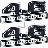 "Supercharger 4.6 Liter SUPERCHARGED Engine Chrome & Black Emblems - 5"" Long Pair"