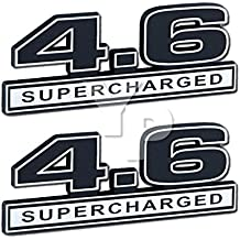 "Supercharger 4.6 Liter SUPERCHARGED Engine Chrome & Black Emblems - 5"" Long Pair"