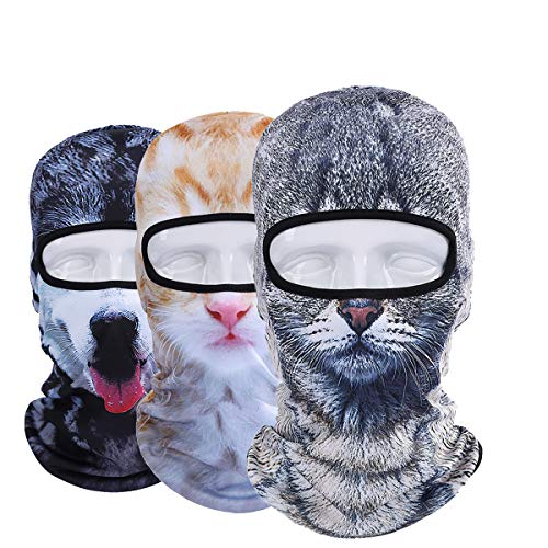 WTACTFUL 3 Pack - 3D Animal Balaclava Head Cove Hood Face Mask Protection Wind Dust Snow UV for Hunting Fishing Skiing Snowboard Bicycle Riding Driving Motorbike Cold Weather Winter Sports 06-09-10 ()