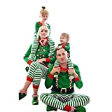 Franterd Merry Christmas Family Matching Clothes Set Mommy, Daddy &Me Parent- Child Stripe Tracksuit Xmas Green Pjs Set