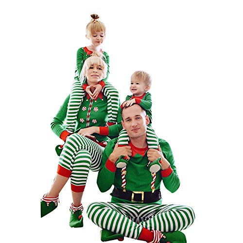 - Franterd Merry Christmas Family Matching Clothes Set Mommy, Daddy &Me Parent- Child Stripe Tracksuit Xmas Green Pjs Set