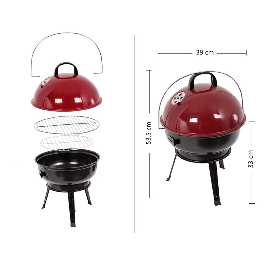 MEI XU Barbecue Grill BBQ Grill - American Car Portable Apple Stove Household Charcoal Grill Enamel Grilled Oven (Color : Black) by MEI XU (Image #4)