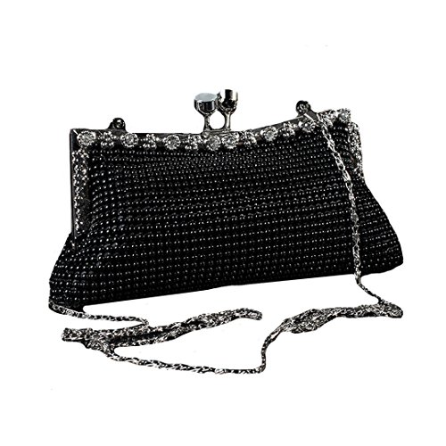 Felice Lady's Clutch Purse Fully Mesh Beaded Retro Style for Evening Out and All kind of Party, come with chic shoulder chain (Glamour Beaded Clutch)