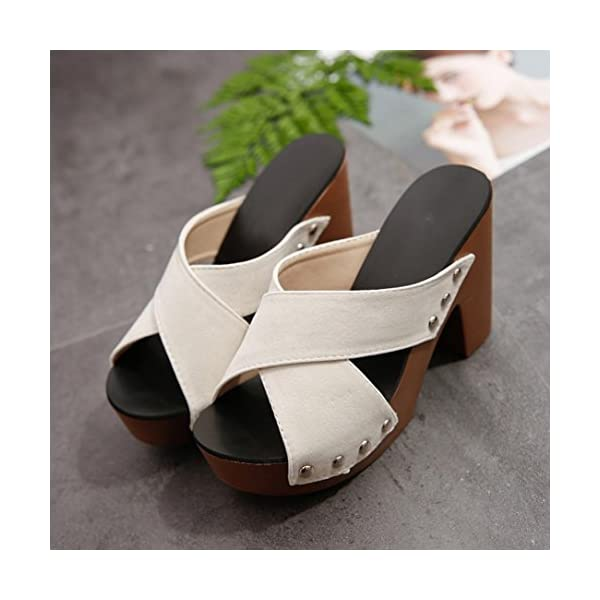 1d34d11034ad Haoricu Clearance High Heel Shoes Women Cross Strap Chunky Heel Wedges  Sandal Thick High-Heeled Flip ...